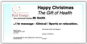 Massage Gift Certificate from Fiona Maguire